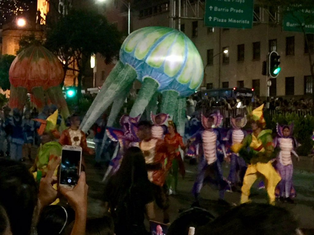 Underwater elements at the Parade of Myths and Legends in Medellin Center Dec. 2018