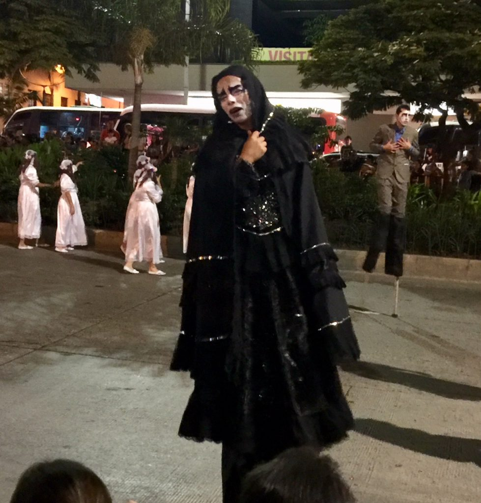 Sad Ghoul at the Myths and Legends parade in Medellin, El Centro